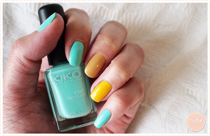 Manucure multicolore : vert menthe, jaune et ocre - Hellokim