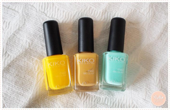 Manucure multicolore : vert menthe, jaune et ocre Kiko - Hellokim