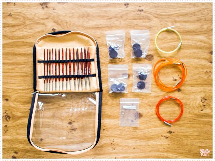 Aiguilles circulaires interchangeables Cubics KnitPro, contenu du kit