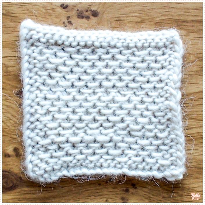 Gauge in slip stitch honeycomb stitch with Bergère de France Filomèche yarn