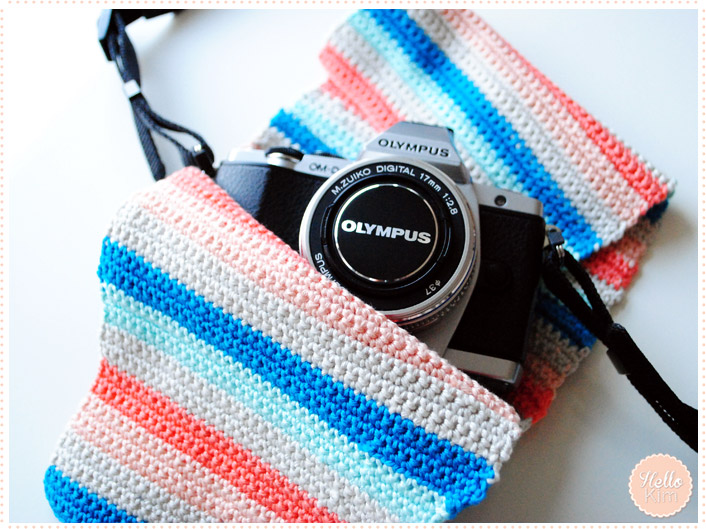 Pochette multicolore au crochet pour appareil photo - HelloKim