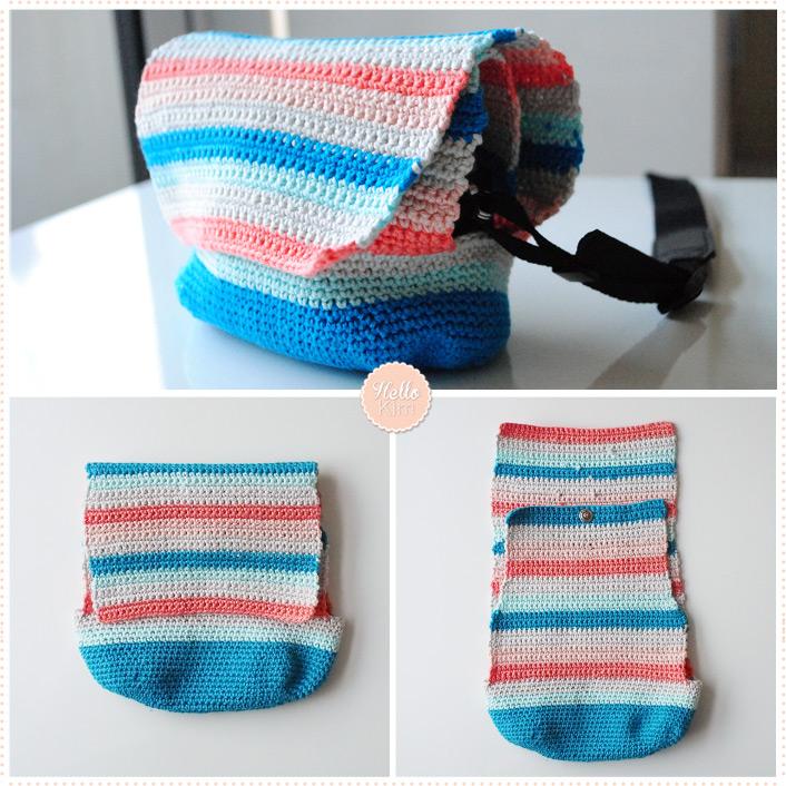 Pochette multicolore au crochet pour appareil photo - Double rabats - HelloKim