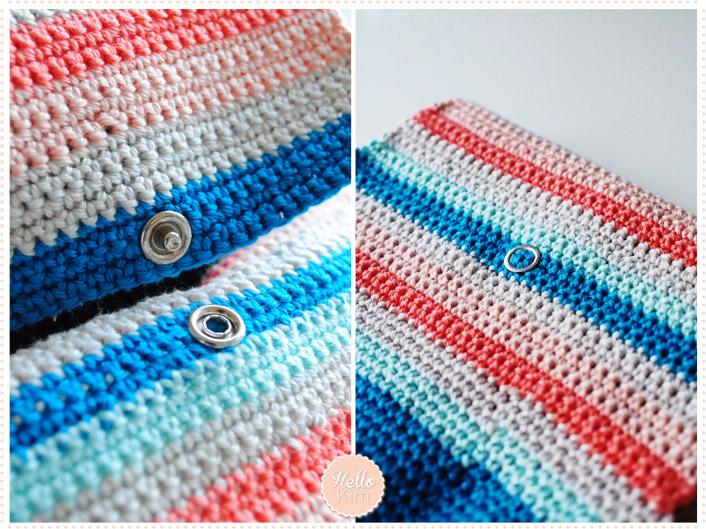 Pochette multicolore au crochet pour appareil photo - Bouton pression - HelloKim