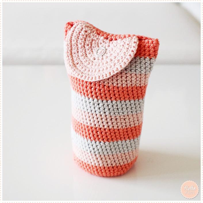 Pochette multicolore au crochet pour objectif - Raba en demi rond - HelloKim