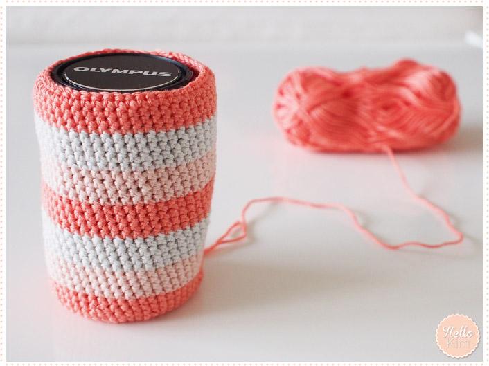 Pochette multicolore au crochet pour objectif - HelloKim