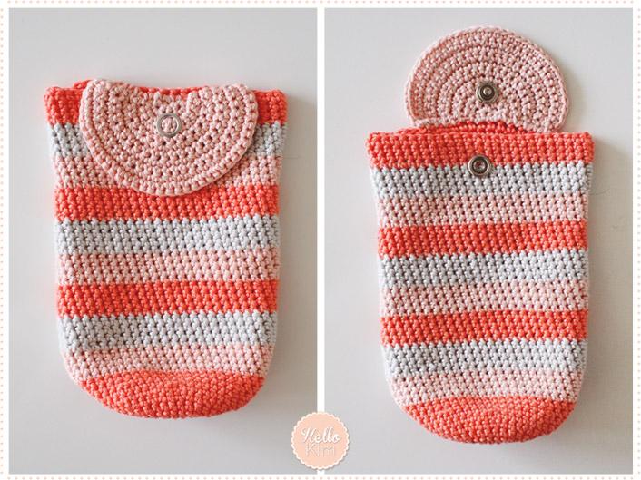 Pochette multicolore au crochet pour objectif - Rabat en demi rond - HelloKim