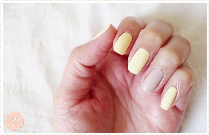 Nail art bicolore jaune pastel et nude - HelloKim