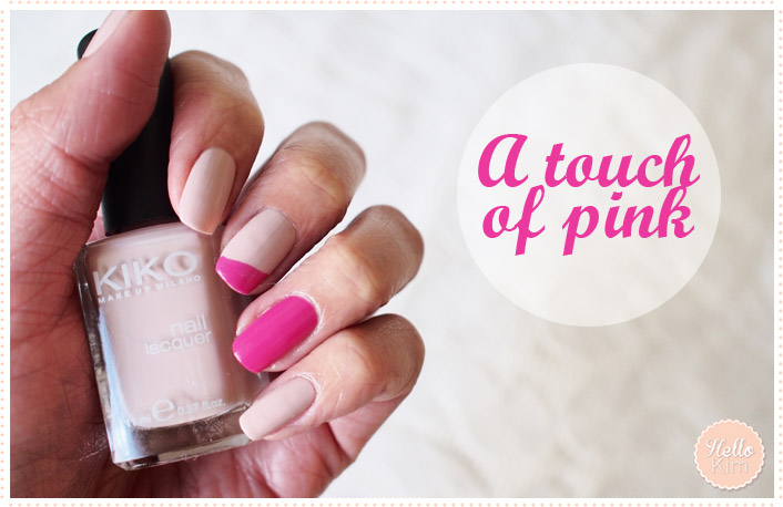 Nail art - French manicure rose décalée >> Hello Kim