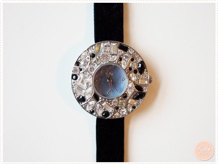 Montre bijoux bracelet ruban noir Delta - vue face - HelloKim