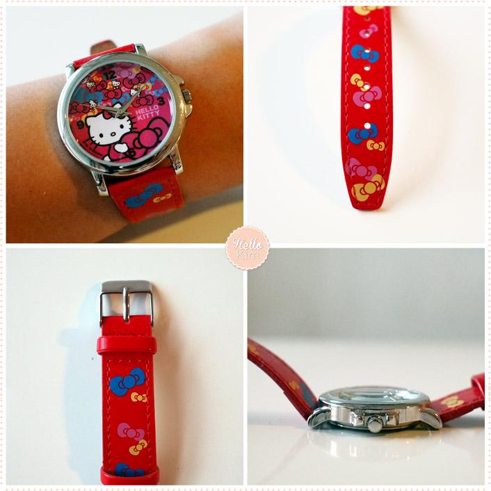 Montre Hello Kitty rouge - vue face et dos - HelloKim